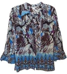Alberto Makali Crinkle Silky Button Front 3/4 Sleeves Large Top