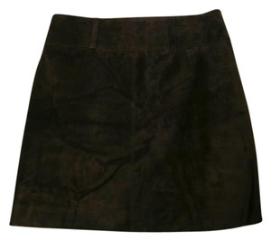 INC International Concepts Suede Leather Mini Skirt brown