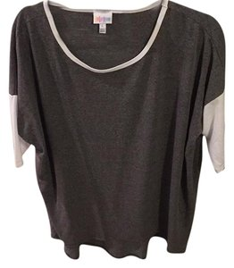 LuLaRoe T Shirt Grey with white sleeves