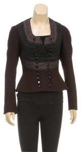 Jean-Paul Gaultier Jean Paul Gaultier Brown Embroidered Trim Bow Pants and Jacket (Size 6/8)