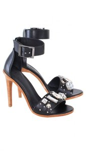 Tibi Leather Rhinestones Jeweled Black Sandals