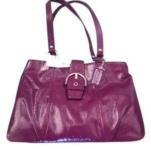 Coach Patent Leather Nwt Satchel in Plum