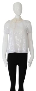 Peter Som Silk Sequins Top white