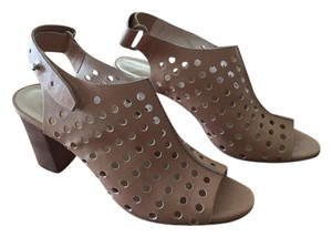 Loeffler Randall Peep Toe Perforated Beige Sandals