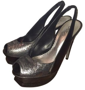 bebe Black with snakeskin silver print Platforms