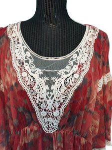 Free People Vintage Boho Lace Trim Top Autumn