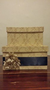 Beautiful Lace Champagne Card Box With Navy Ribbon