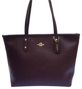 Coach Canvas Leather Work Laptop Tote in Oxblood