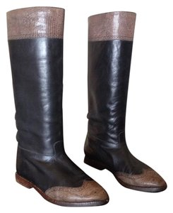 Prada Western Snakeskin Cowboy Black and Tan Boots