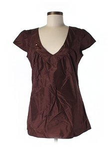 Rory Beca Silk Embellished Top Brown