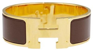 Herms NEW HERMES WIDE Brown Enamel Palladium Plated Clic-Clac H PM Bracelet