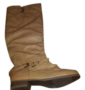 Charlotte Russe Knee High Buckle Zipper Tan - Neutral - Camel Boots