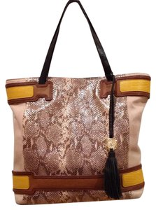 Vince Camuto Tote in tan and yellow snakeskin