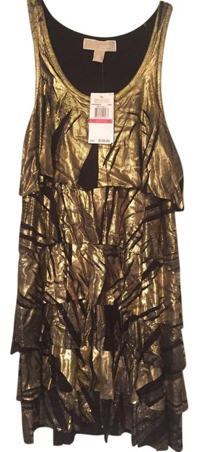 Item - Gold/Black Above Knee Night Out Dress Size 2 (XS)