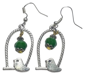 New Silver Tone BIrd Earrings Green Aventurine Gemstone J2894
