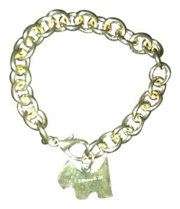 Penny's Heavily Silver filled, Wide Chain Bracelet Charm Bracelet with a Doggie Charm. Size 7.5 inches, Add More Charms.