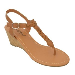 Twisted Wedge T-strap Thong Tan Sandals