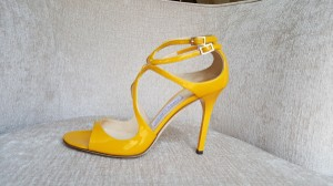 Jimmy Choo Lang Patent Leather Yellow Pumps