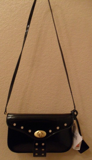 Badgley Mischka Patent Leather Crossbody Black Clutch Image 2