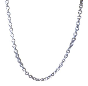 14K Solid White Gold Oval Rolo Chain 16 Inches