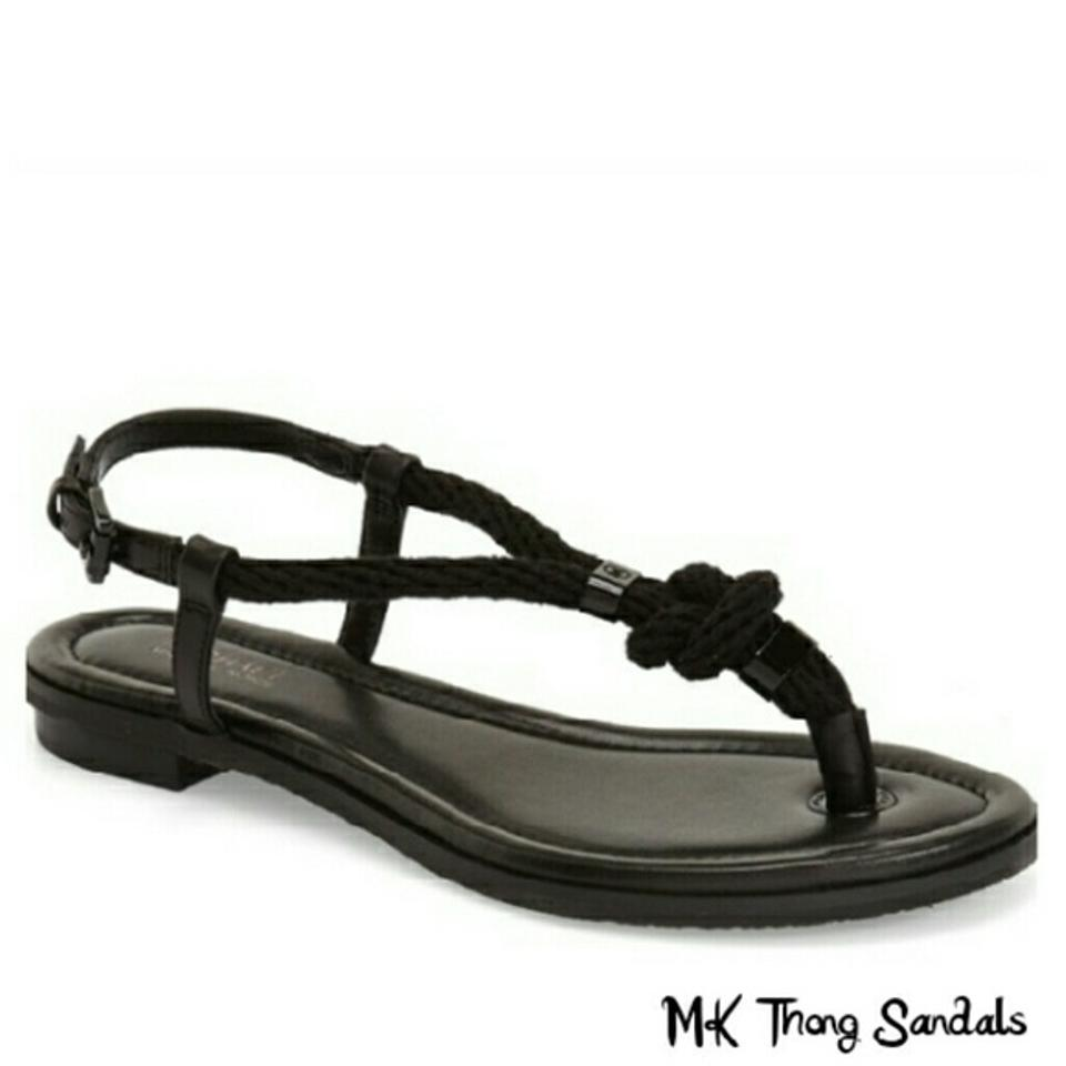 97238c11ba1a Michael Kors Black Holly Knotted Rope Thong Sandals Size US 8.5 ...