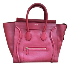 Céline Phantom Luggage Leather Tote in Red