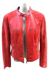 Danier Suede red leather Leather Jacket