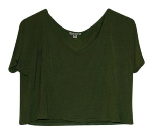 Silence + Noise Crop T Shirt Olive Green