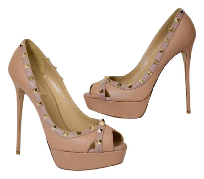 Item - Nude Leather Gold Studs Peep-toe 41/11m Sg Formal Shoes Size US 11 Regular (M, B)