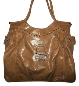 Guess Tan Studded Pockets Inside Pocket Outside Magnetic Clasp Satchel