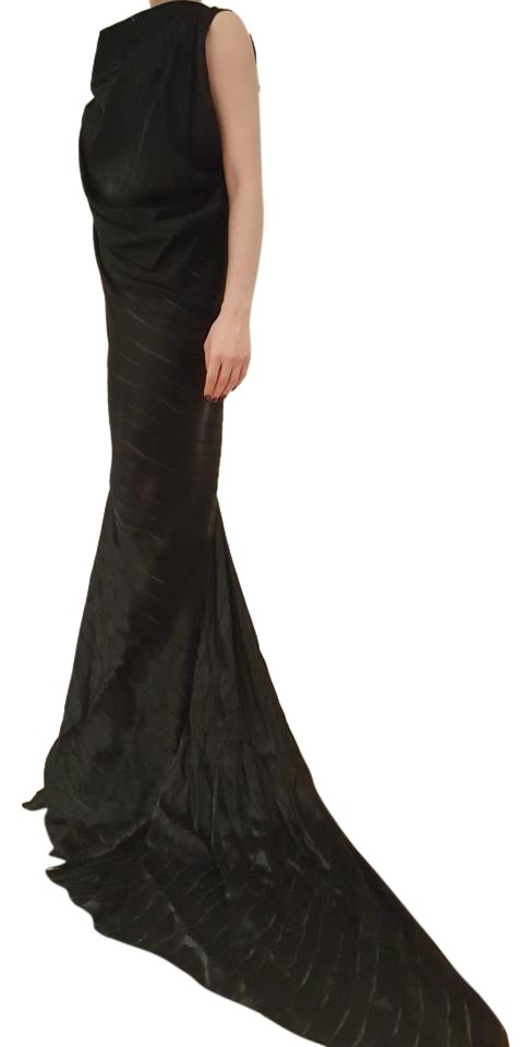 Plein Sud Black Silk Blend Gown. Draped Cowl Neck and A Flared Skirt ...