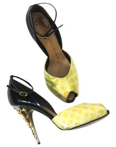 Giuseppe Zanotti Gold Cage Heel Snakeskin Statement Black & Yellow Pumps