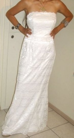 David's Bridal White Galina Vw9340 Destination Wedding Dress Size 6 (S)