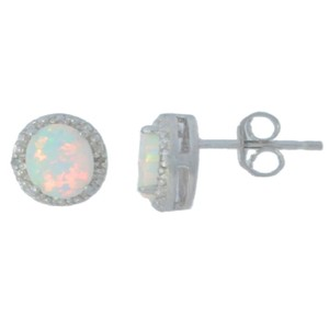 Other Opal & Diamond Round Stud Earrings .925 Sterling Silver