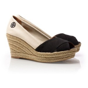 Tory Burch Black and white Wedges