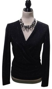 Georgiou Studio Evening Sparkly Wrap Knit Top Black