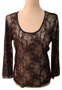 The Limited Sheer Lace Top Black