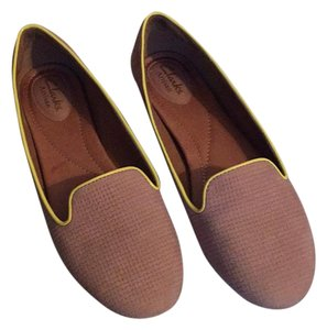 Clarks Tan Nubuck, Yellow Piping Flats