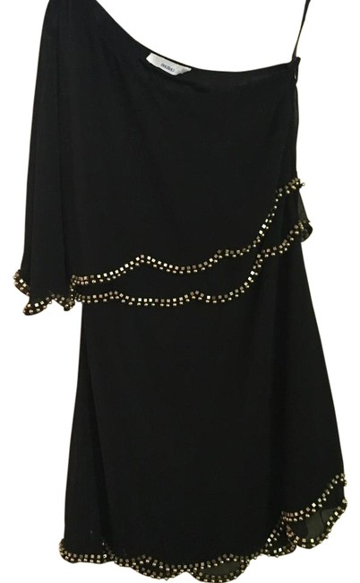 Item - Black and Gold Beads Beaded One Shoulder Above Knee Night Out Dress Size 4 (S)