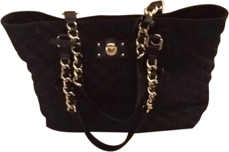 Marc Jacobs Quilted Gold Chain Tote Black Nylon Leather Brass Straps Shoulder Bag 63 Off Retail
