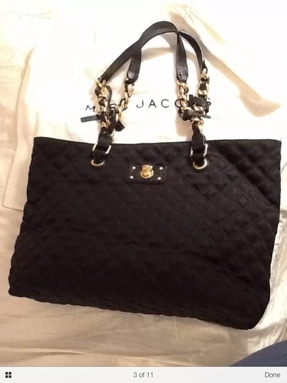 Marc Jacobs Quilted Classic Tote Vintage Chain Black Gold Chic Shoulder Bag