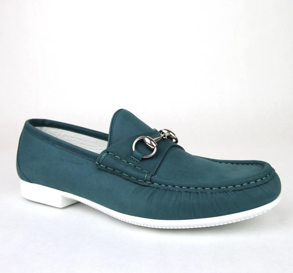 010e5bcfe8a Gucci Teal Horsebit Mens Suede Loafer Moccasin 337060 Bho00 Size 10 Us 11  Shoes