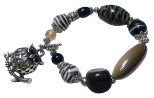 New Owl Bracelet Gemstone Glass Silver Tone J2895