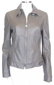 Dolce&Gabbana Gray Leather Logo Heather Gray Jacket