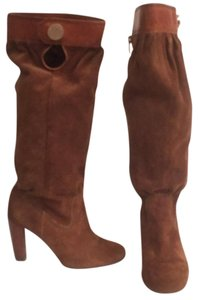 Michael Kors Suede Leather Mk Slouch Brown Boots