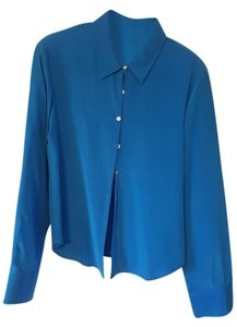 Sunny Leigh Silk Button Down Shirt Blue