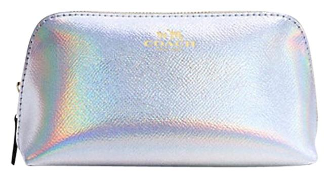 Item - Iridescent Silver 17 In Hologram Leather F65515 Cosmetic Bag