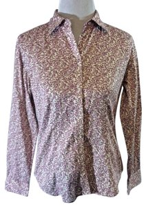 Talbots Cotton Classic Floral Casual Button Down Shirt Purple and white.