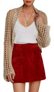 Free People Open Knit Open Front Long Sleeves Drop Tail Hem Cotton Sweatshirt