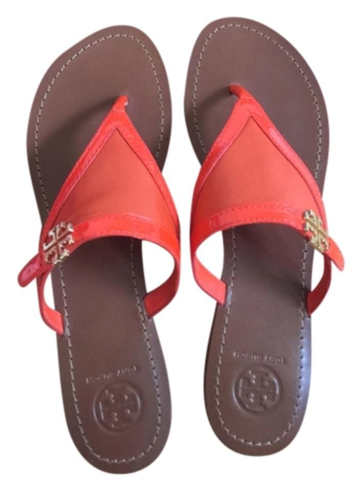 Tory Burch Fire Mestico/ Orange Eloise Flat Thong- Mestico/ Fire Solf Patent Sandals 84f409
